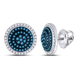 10kt White Gold Round Blue Color Enhanced Diamond Concentric Cluster Earrings 1/2 Cttw