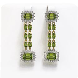 11.38 ctw Tourmaline & Diamond Earrings 14K Yellow Gold