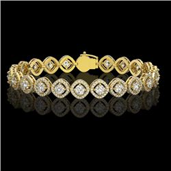8.44 ctw Cushion Cut Diamond Micro Pave Bracelet 18K Yellow Gold