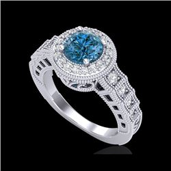 1.53 ctw Fancy Intense Blue Diamond Art Deco Ring 18K White Gold