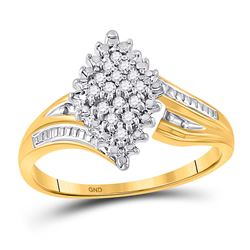 10kt Yellow Two-tone Gold Round Prong-set Diamond Oval Cluster Ring 1/8 Cttw