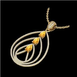 2 ctw Citrine & Micro Pave VS/SI Diamond Necklace 18K Yellow Gold
