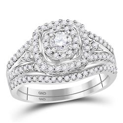 14kt White Gold Round Diamond Bridal Wedding Engagement Ring Band Set 3/4 Cttw