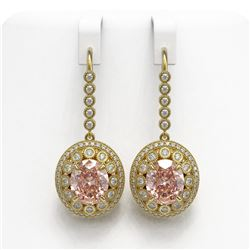 13.82 ctw Morganite & Diamond Victorian Earrings 14K Yellow Gold