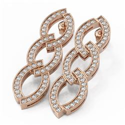 3.25 ctw Diamond Designer Earrings 18K Rose Gold