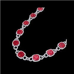 56 ctw Ruby & Micro VS/SI Diamond Eternity Necklace 14K White Gold