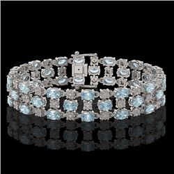 13.12 ctw Aquamarine & Diamond Row Bracelet 10K White Gold
