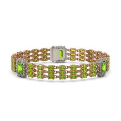 26.14 ctw Peridot & Diamond Bracelet 14K Rose Gold