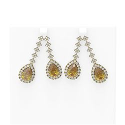 12.45 ctw Canary Citrine & Diamond Earrings 18K Yellow Gold