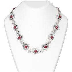 51.18 ctw Ruby & Diamond Necklace 18K White Gold