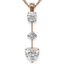 1.16 ctw Heart Diamond Designer Necklace 18K Rose Gold