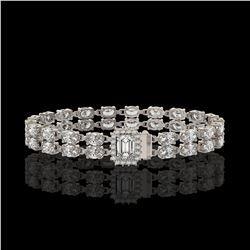 13.04 ctw Emerald Cut & Oval Diamond Bracelet 18K White Gold