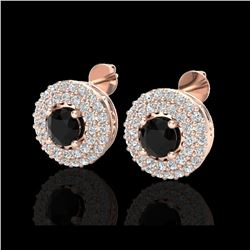 1.40 ctw Micro VS/SI Diamond Designer Earrings 14K Rose Gold