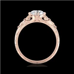 1 ctw VS/SI Diamond Solitaire Art Deco Ring 18K Rose Gold