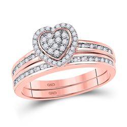 10kt Rose Gold Round Diamond Heart Bridal Wedding Engagement Ring Band Set 1/4 Cttw