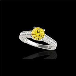 1.32 ctw Certified SI/I Fancy Intense Yellow Diamond Ring 10K White Gold