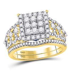 14kt Yellow Gold Round Diamond Bridal Wedding Engagement Ring Band Set 1.00 Cttw
