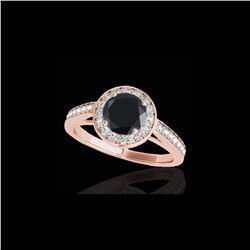 1.45 ctw Certified VS Black Diamond Solitaire Halo Ring 10K Rose Gold