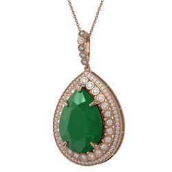 42.84 ctw Emerald & Diamond Victorian Necklace 14K Rose Gold