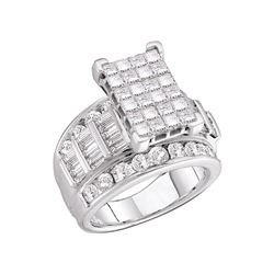 14kt White Gold Princess Diamond Cluster Bridal Wedding Engagement Ring 3.00 Cttw