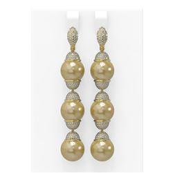 3 ctw Diamond and Pearl Earrings 18K Yellow Gold