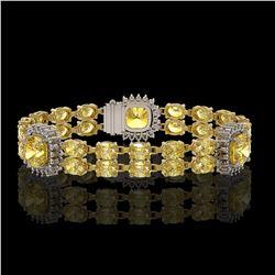 15.95 ctw Citrine & Diamond Bracelet 14K Yellow Gold