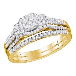 10kt Yellow Gold Round Diamond Cluster Bridal Wedding Engagement Ring Band Set 1/2 Cttw