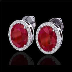 5.50 ctw Ruby & Micro VS/SI Diamond Halo Earrings 18K White Gold