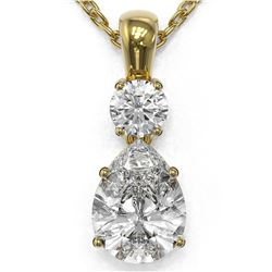 1.25 ctw Pear Cut Diamond Designer Necklace 18K Yellow Gold