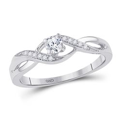 10kt White Gold Round Diamond Solitaire Crossover Twist Promise Bridal Ring 1/6 Cttw