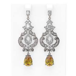 11.04 ctw Canary Citrine & Diamond Earrings 18K White Gold