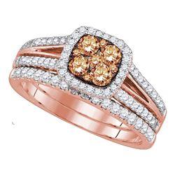 14kt Rose Gold Round Brown Diamond Bridal Wedding Engagement Ring Band Set 1.00 Cttw