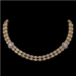 36.2 ctw Morganite & Diamond Necklace 14K Yellow Gold