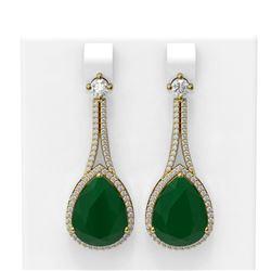 23.3 ctw Emerald & Diamond Earrings 18K Yellow Gold