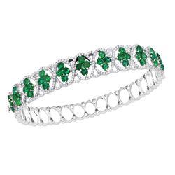 18kt White Gold Round Emerald Diamond Bangle Bracelet 1-3/8 Cttw