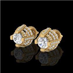 2.75 ctw VS/SI Diamond Micro Pave Stud Earrings 18K Yellow Gold