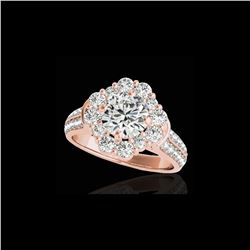 2.16 ctw Certified Diamond Solitaire Halo Ring 10K Rose Gold