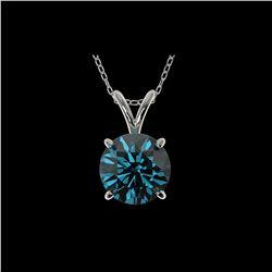 1.55 ctw Certified Intense Blue Diamond Necklace 10K White Gold