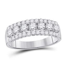14kt White Gold Round Diamond Classic Anniversary Band Ring 1.00 Cttw