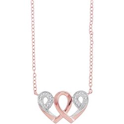 10k Rose Gold Diamond Interwoven Heart Infinity Love Pendant Necklace 1/20 Cttw