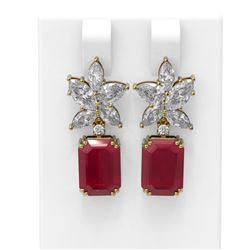 15.19 ctw Ruby & Diamond Earrings 18K Yellow Gold