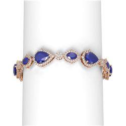33.90 ctw Sapphire & Diamond Bracelet 18K Rose Gold