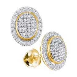 10kt Yellow Gold Round Diamond Oval Frame Cluster Earrings 1/4 Cttw