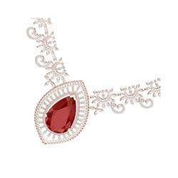65.75 ctw Ruby & VS Diamond Necklace 18K Rose Gold