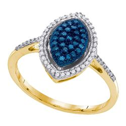 10kt Yellow Gold Round Blue Color Enhanced Diamond Oval Cluster Ring 1/4 Cttw
