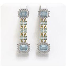 11.04 ctw Sky Topaz & Diamond Earrings 14K Yellow Gold