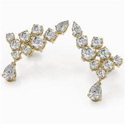 3.88 ctw Pear Diamond Designer Earrings 18K Yellow Gold