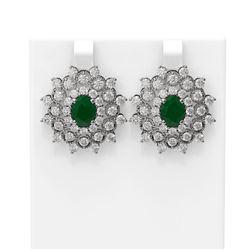9.28 ctw Emerald & Diamond Earrings 18K White Gold