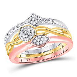 10kt Tri-Tone Gold Round Diamond Stackable Ring 3-Piece Set 1/5 Cttw