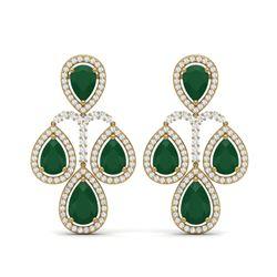 29.23 ctw Emerald & VS Diamond Earrings 18K Yellow Gold
